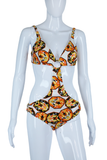 Orange + Black Brass O-Rings Monokini