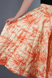 Orange Quilted Circle Skirt Rhinestones - Embers / Cinders Vintage