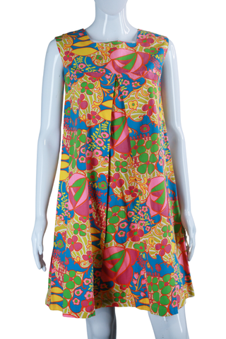 Psychedelic Floral Print Trapeze Dress
