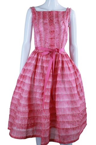 Sheer Pink Ruffle Dress - 50s New Old Stock