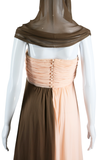 Bill Blass Pink + Brown Silk Chiffon Gown - Embers / Cinders Vintage