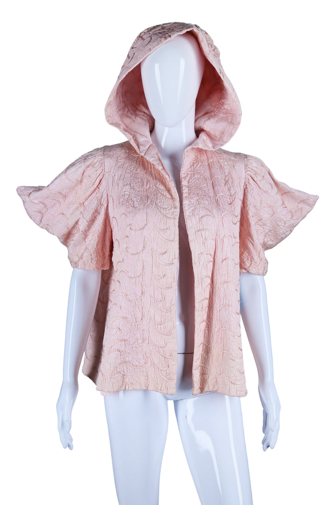 Pink Hooded + Embroidered Jacket with Dramatic Sleeves