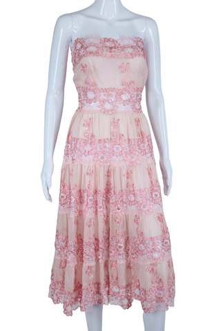 Pink Sheer Soutache + Lace Dress