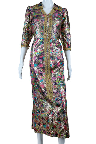 Psychedelic Brocade Lounge Dress + Gold Trim