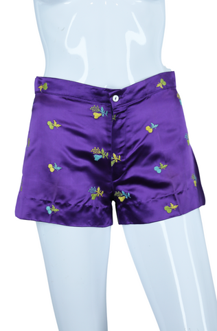 Purple Satin Fruit Embroidered Hot Shorts