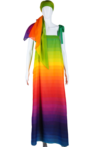 Rainbow Dress and Matching Shawl - Embers / Cinders Vintage