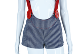Big Red Button Suspender + Pin Stripe Hot Shorts