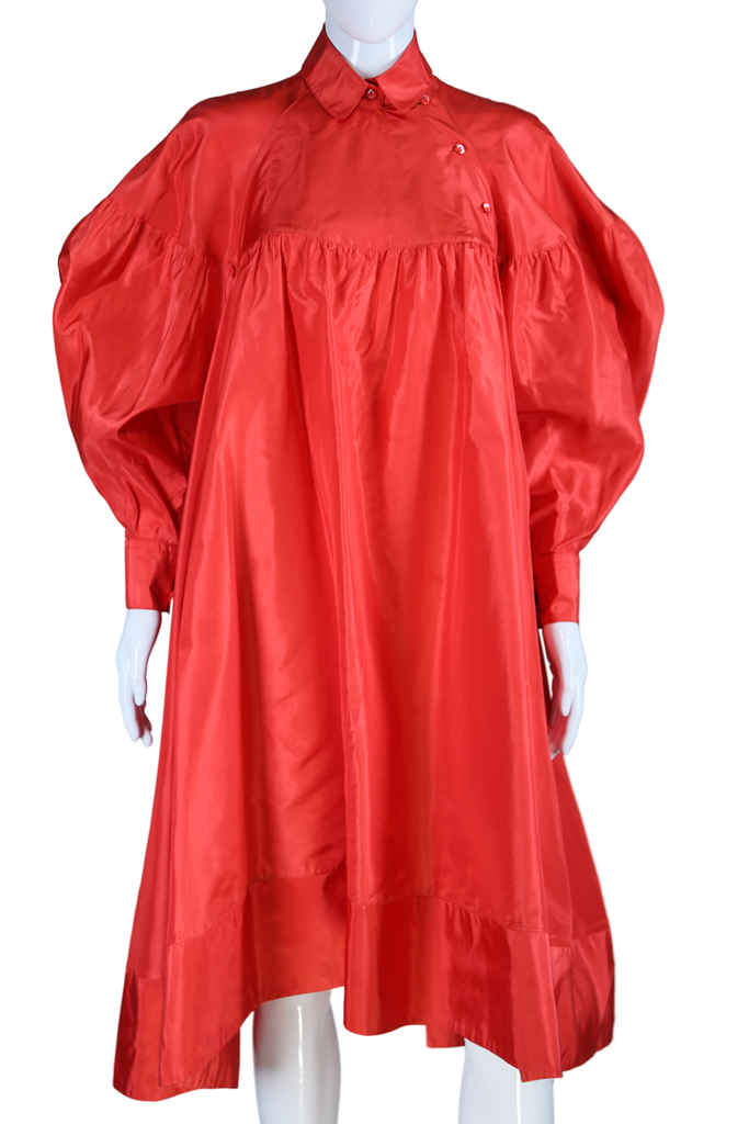 Kenzo Red Silk Trapeze Dress
