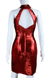 Red Lamé Cut-Out Neck Dress