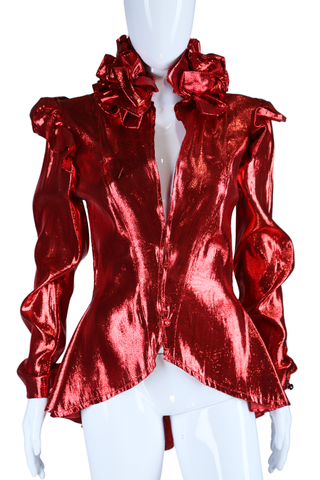 Red Lamé Ruffle Jacket