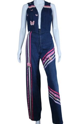 Ribbon Appliqué Bell Bottom Jeans + Vest Set