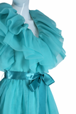 Richilene Dramatic Ruffle Chest Aqua Party Dress