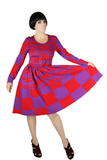 Rudi Gernreich Red + Purple Op-Art Dress - Embers / Cinders Vintage