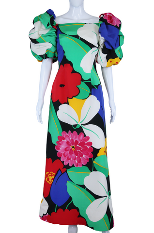 Tropical Punch + Puff Sleeves Scaasi Boutique Gown