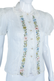 Sheer Embroidered Puff Sleeve Blouse
