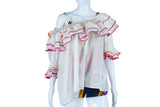 Off-the-Shoulder Ruffle Blouse with Pink + Orange Edges