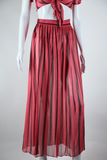 Sheer Two Piece Skirt Set with Tie Blouse - Embers / Cinders Vintage