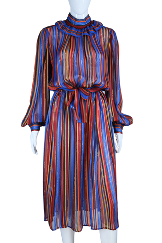 Silk Sheer Vertical Stripe + Lurex Dress
