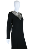 Ferrara Slinky Black Dress with Chainmail Neck and Back
