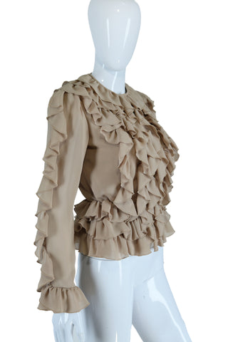 Ruffles Galore Tan Blouse