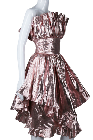 Victor Costa Pink Lamé Ruffle Party Dress - Embers / Cinders Vintage