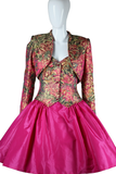 Victor Costa Brocade and Taffeta Party Dress Set - Embers / Cinders Vintage