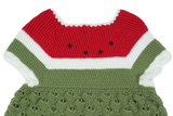 Hand-Knit Crochet Novelty Watermelon Sweater - Embers / Cinders Vintage