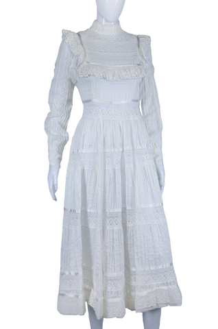 White Pintucks + Peek-a-Boo Lace Prairie Dress