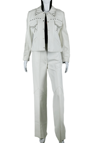 White Leather Studded Suit - Embers / Cinders Vintage