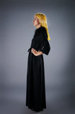 Vintage 60s Black Wool and Ostrich Feather Maxi Dress with tie waist belt - Embers / Cinders Vintage