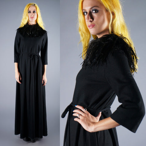 Vintage 60s Black Wool and Ostrich Feather Maxi Dress with tie waist belt -  - 1