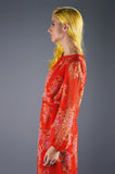 Adele Simpson Chiffon Dress with Braided Detail - Embers / Cinders Vintage