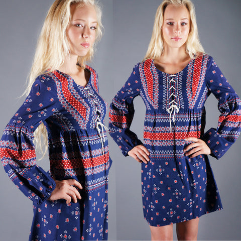 Vintage 60s Blue Red Bandana Print Cotton Mini Dress with Lace Up Front and Balloon Sleeves -  - 1