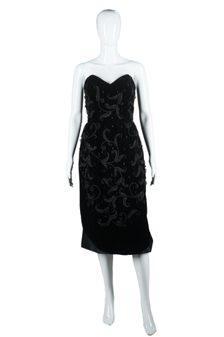 Hourglass Velvet Dress with Satin Train - Embers / Cinders Vintage