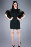 Sheer Ostrich Feather Cape Dress