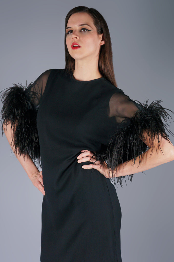 Sheer Ostrich Feather Cape Dress - Embers / Cinders Vintage