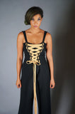 Black and Gold Lurex Lace Up Jumpsuit with Buckles - Embers / Cinders Vintage