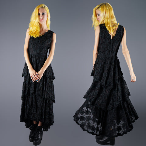 Vintage 40s Black Tiered Soutache Ribbon Dress with Hi Low Skirt