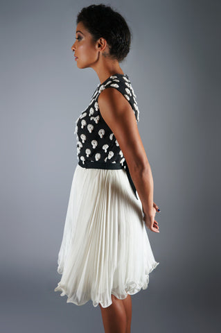 Beaded Dress with Black and White Medallions - Embers / Cinders Vintage