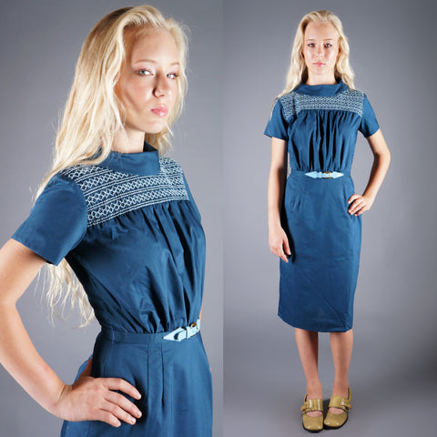 Vintage 50s Embroidered Blue Yoke Neckline Dress with Pencil Skirt -  - 1