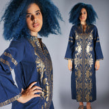 Blue and Gold Embroidered Caftan - Embers / Cinders Vintage