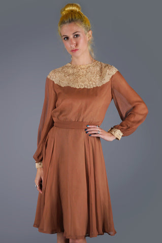 Silk Chiffon Chantilly Lace Dress