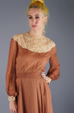 Silk Chiffon Chantilly Lace Dress - Embers / Cinders Vintage