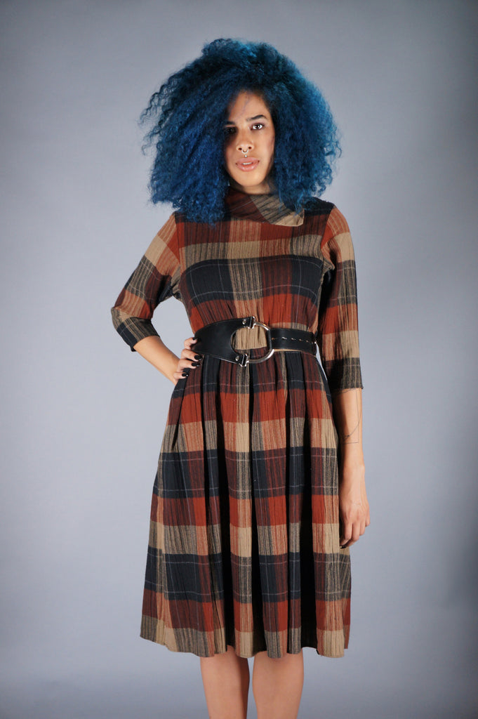 Plaid Dress with O-Ring Belt Dress - Embers / Cinders Vintage