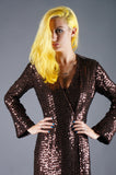Sequin Bronze Wrap Dress - Embers / Cinders Vintage