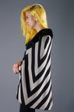 Op Art Chevron Graphic Print Cape With Fur Collar - Embers / Cinders Vintage