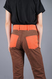 Vintage 70s Orange and Brown Flared Denim Jeans Pants Flat Front Pockets - Embers / Cinders Vintage