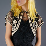 Embroidered Tulle Capelet - Embers / Cinders Vintage