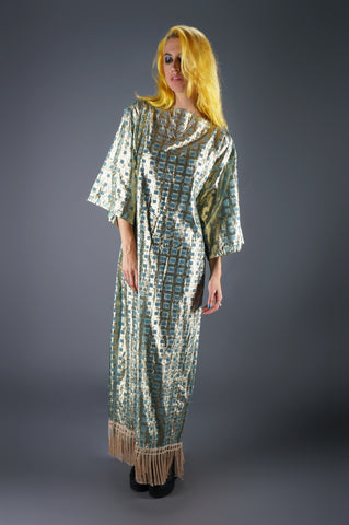 Baby Blue and Gold Fringe Sheer Caftan - Embers / Cinders Vintage
