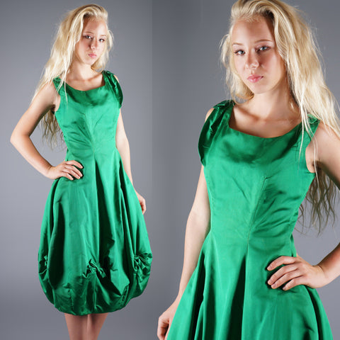 Vintage 50s Bubble Hem Emerald Green Taffeta Gown or Party Dress -  - 1